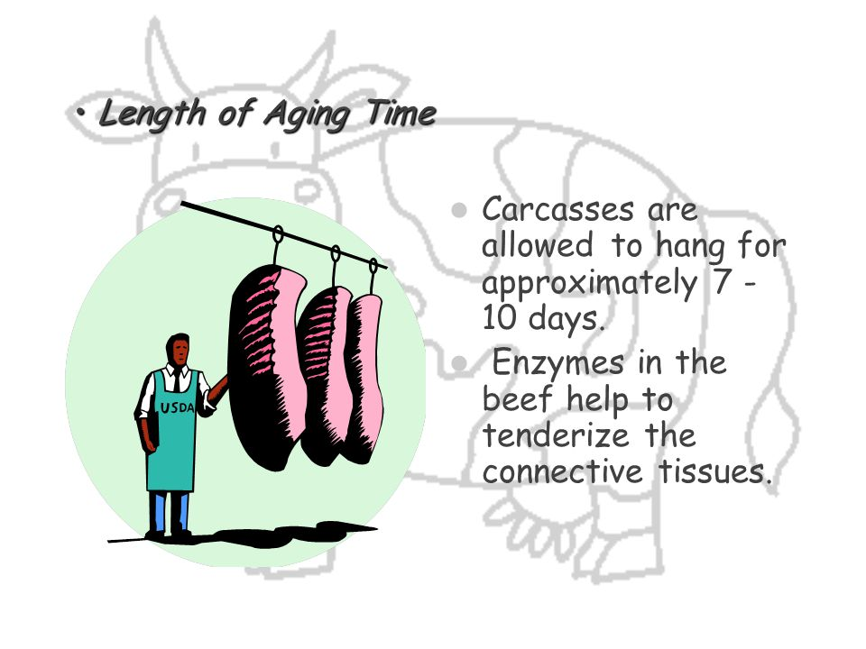 Length of Aging Time Carcasses are allowed to hang for approximately 7 -10 days.