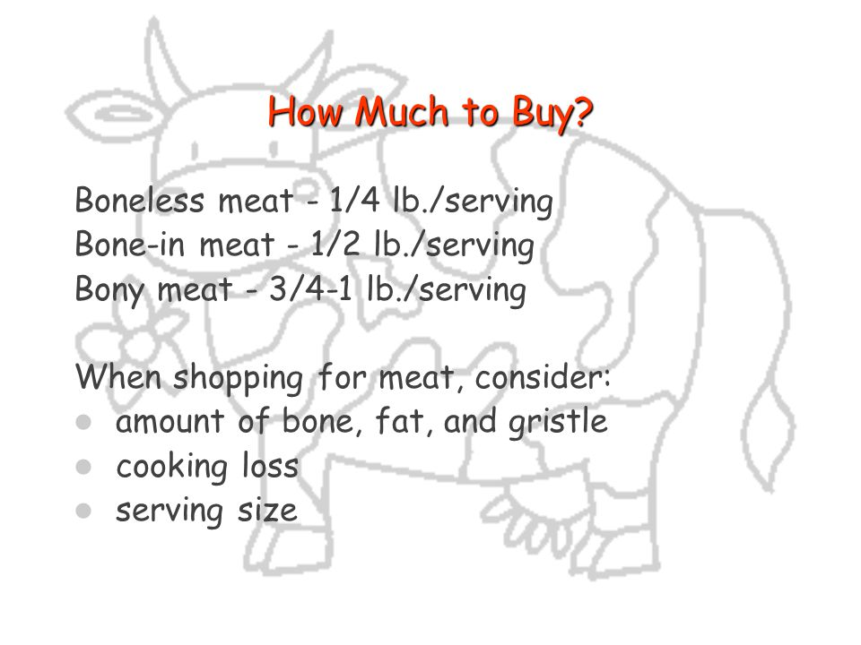 How Much to Buy Boneless meat - 1/4 lb./serving