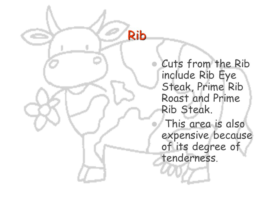 Rib Cuts from the Rib include Rib Eye Steak, Prime Rib Roast and Prime Rib Steak.