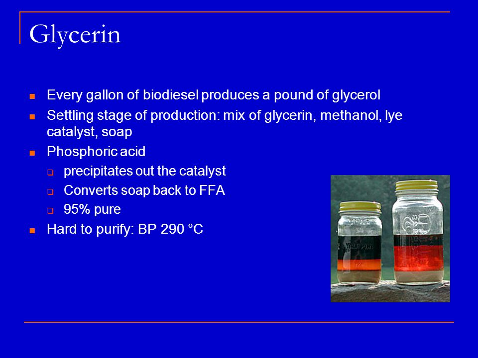 Glycerin Every gallon of biodiesel produces a pound of glycerol