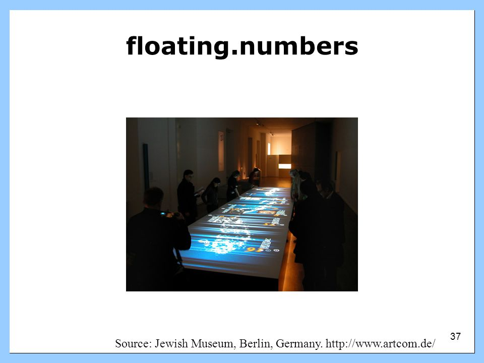 floating.numbers This is a 9m x 2m interactive table that uses an overhead projector.