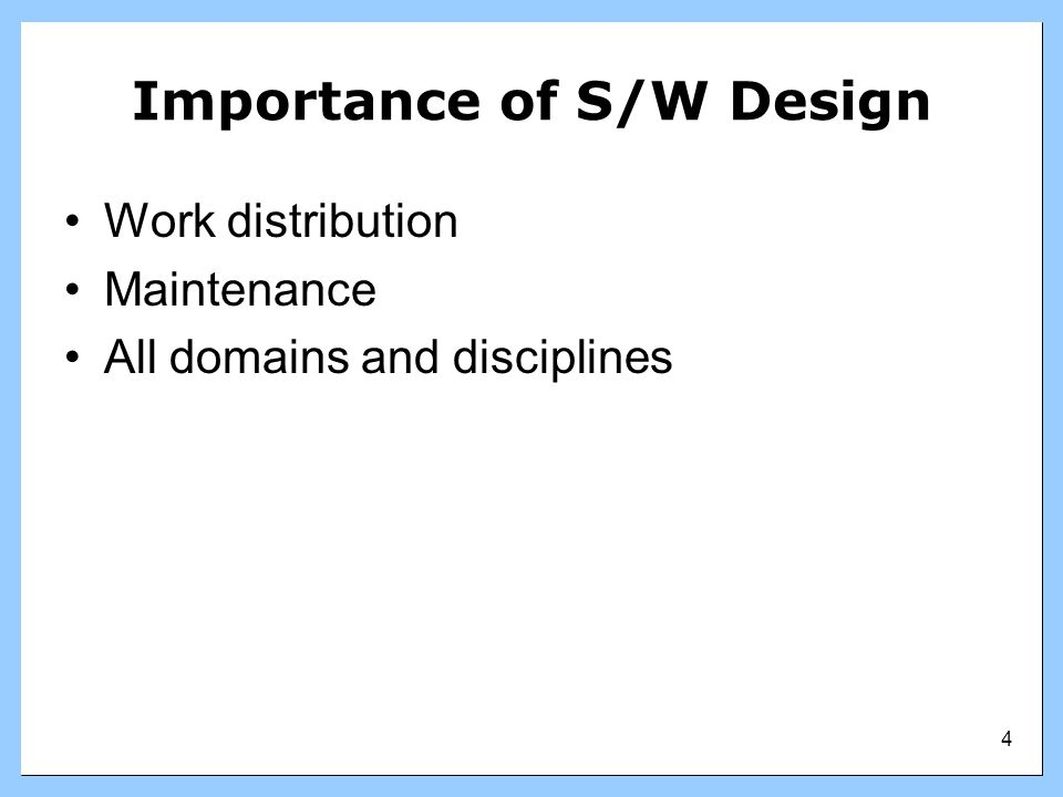 Importance of S/W Design