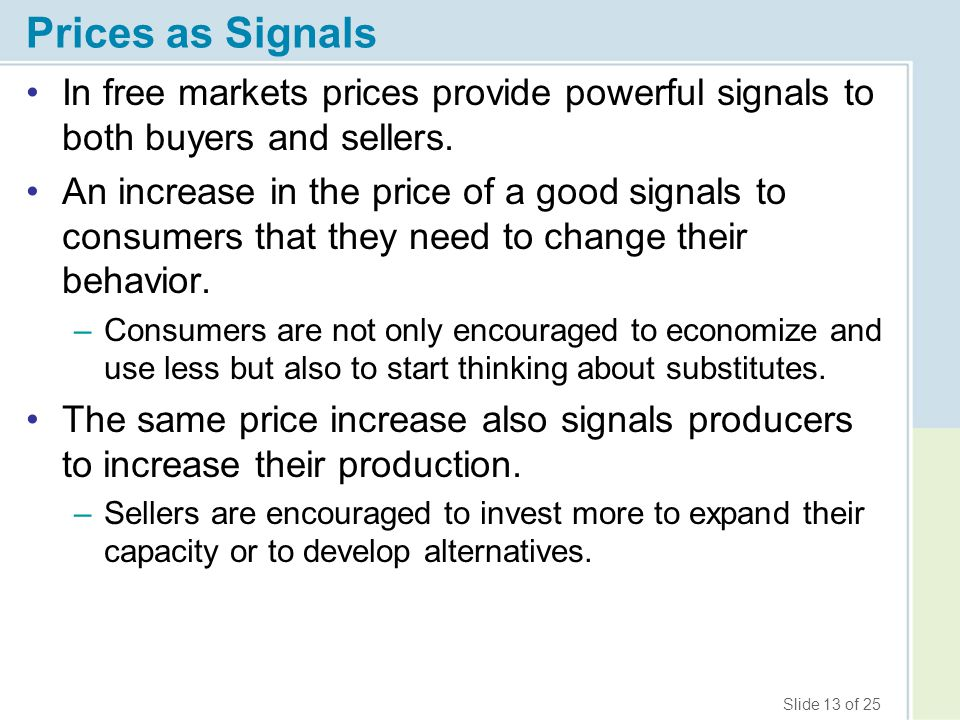 Prices as Signals In free markets prices provide powerful signals to both buyers and sellers.