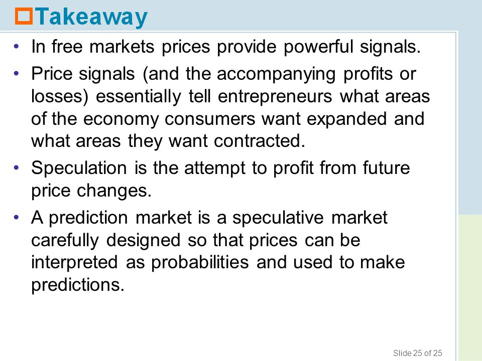 In free markets prices provide powerful signals.