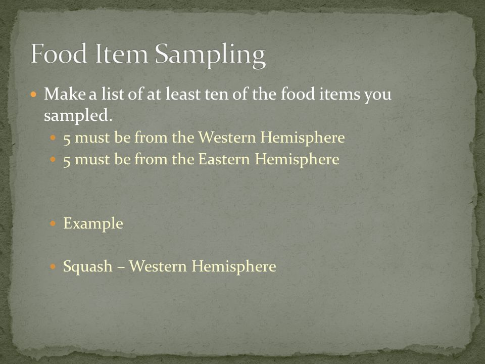 Food Item Sampling Make a list of at least ten of the food items you sampled. 5 must be from the Western Hemisphere.