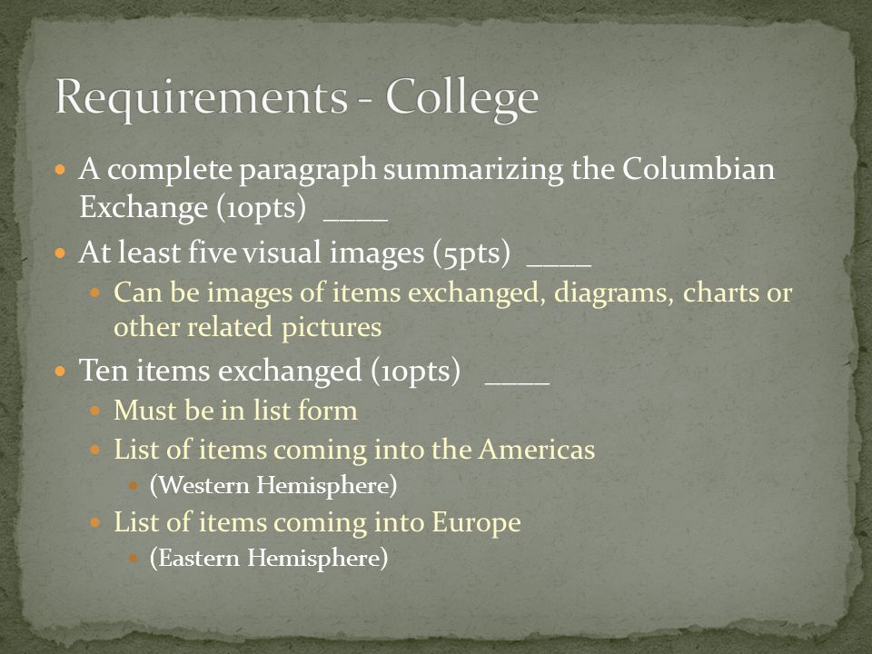 Requirements - College