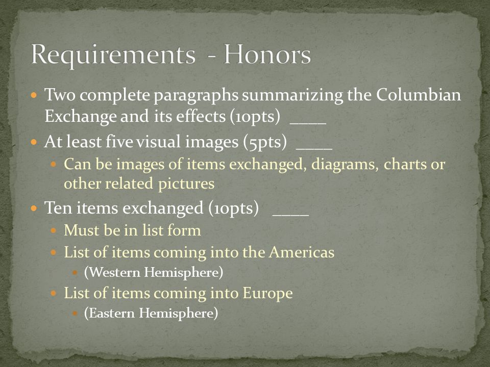 Requirements - Honors Two complete paragraphs summarizing the Columbian Exchange and its effects (10pts) ____.