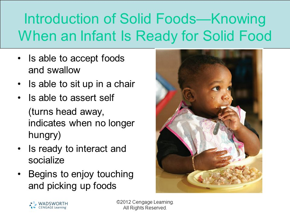 Introduction of Solid Foods—Knowing When an Infant Is Ready for Solid Food