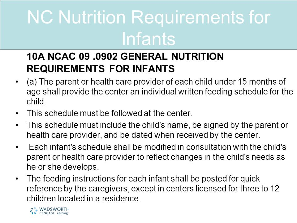 NC Nutrition Requirements for Infants