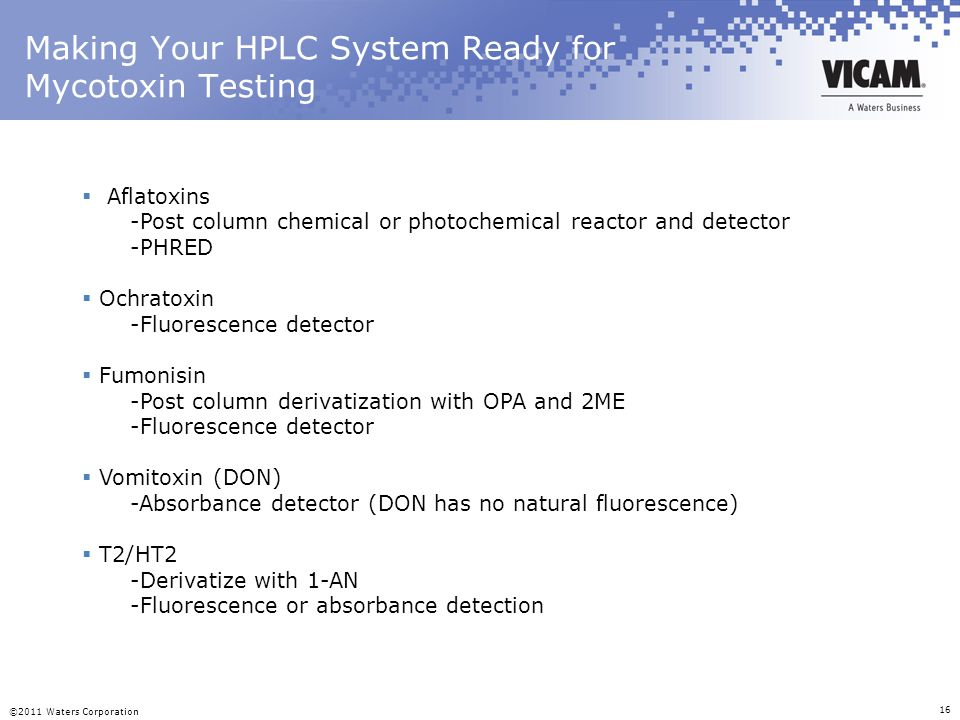 Making Your HPLC System Ready for Mycotoxin Testing