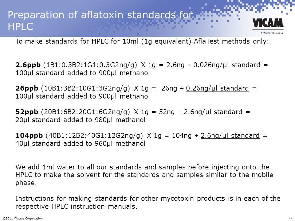 Preparation of aflatoxin standards for HPLC