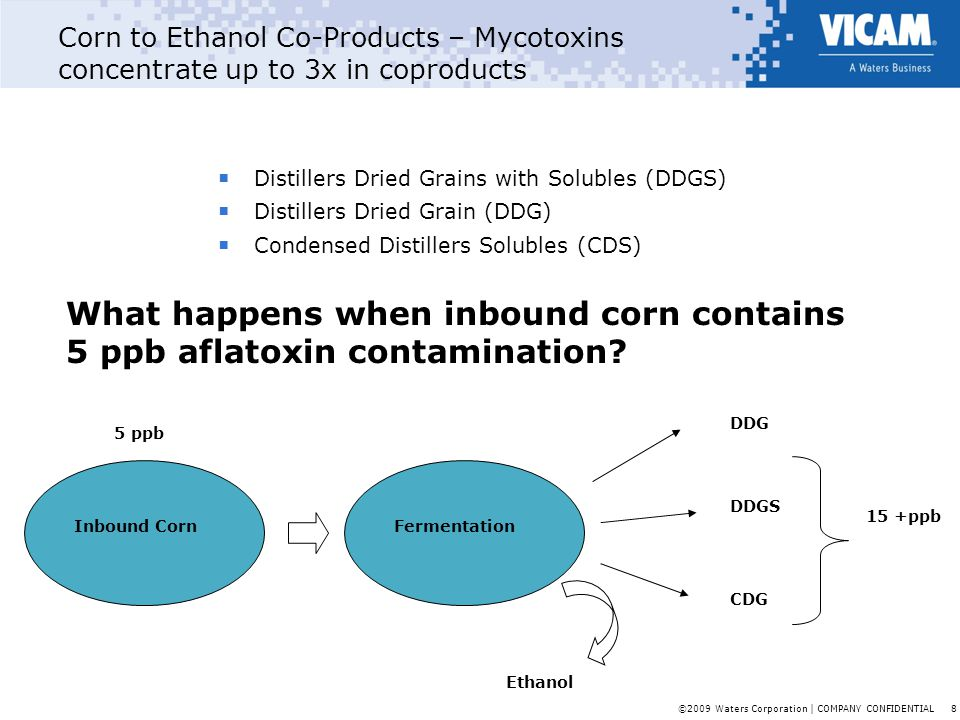 What happens when inbound corn contains 5 ppb aflatoxin contamination