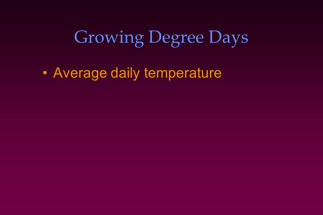 Growing Degree Days Average daily temperature