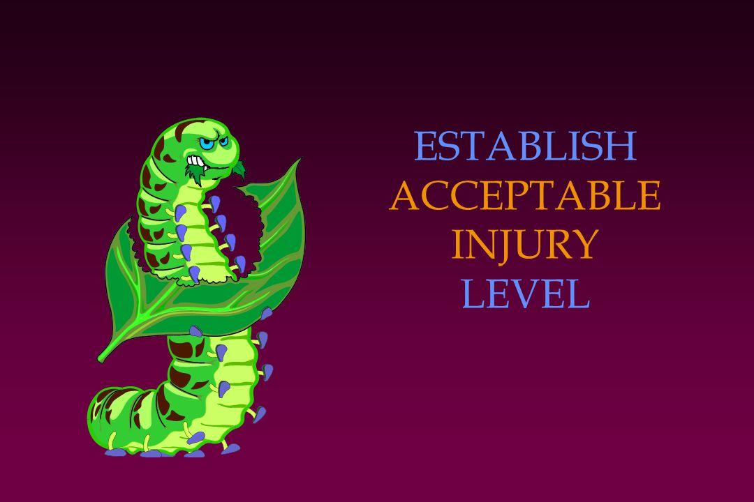 ESTABLISH ACCEPTABLE INJURY LEVEL