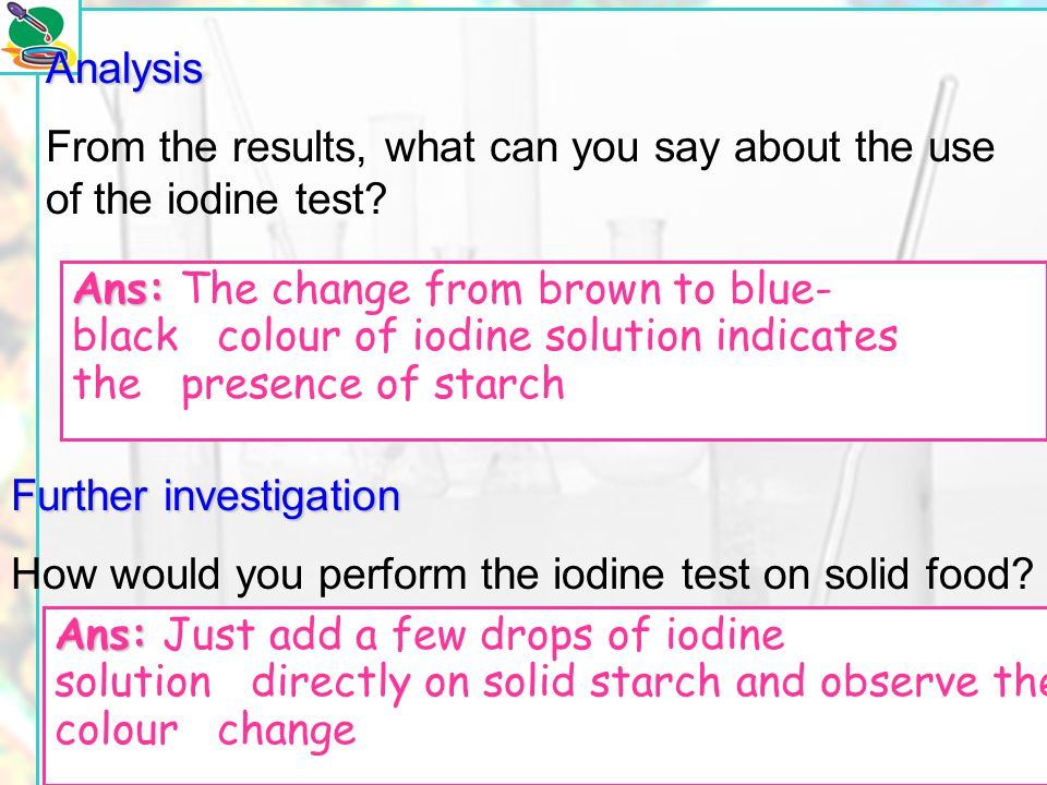 From the results, what can you say about the use of the iodine test