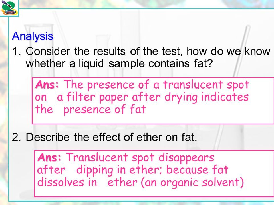 2. Describe the effect of ether on fat.