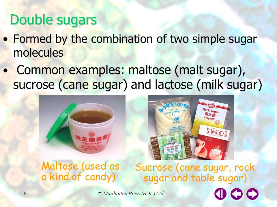 Sucrose (cane sugar, rock sugar and table sugar)