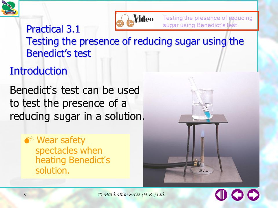 Testing the presence of reducing sugar using Benedict's test