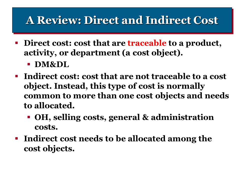 A Review: Direct and Indirect Cost