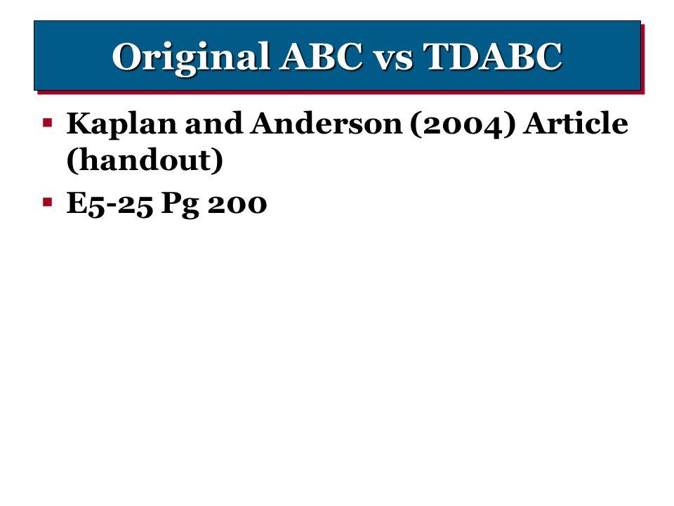 Original ABC vs TDABC Kaplan and Anderson (2004) Article (handout)