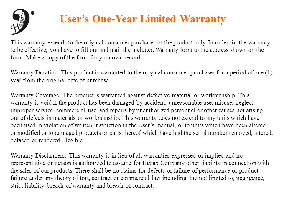 User's One-Year Limited Warranty