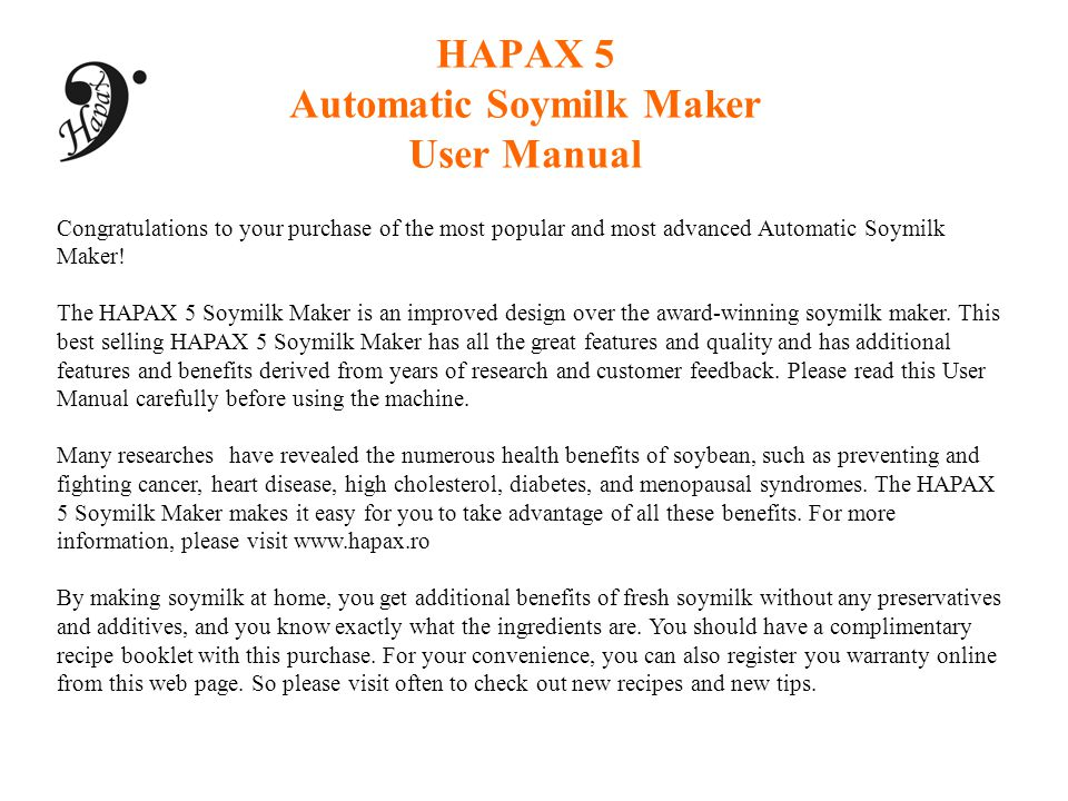 HAPAX 5 Automatic Soymilk Maker User Manual