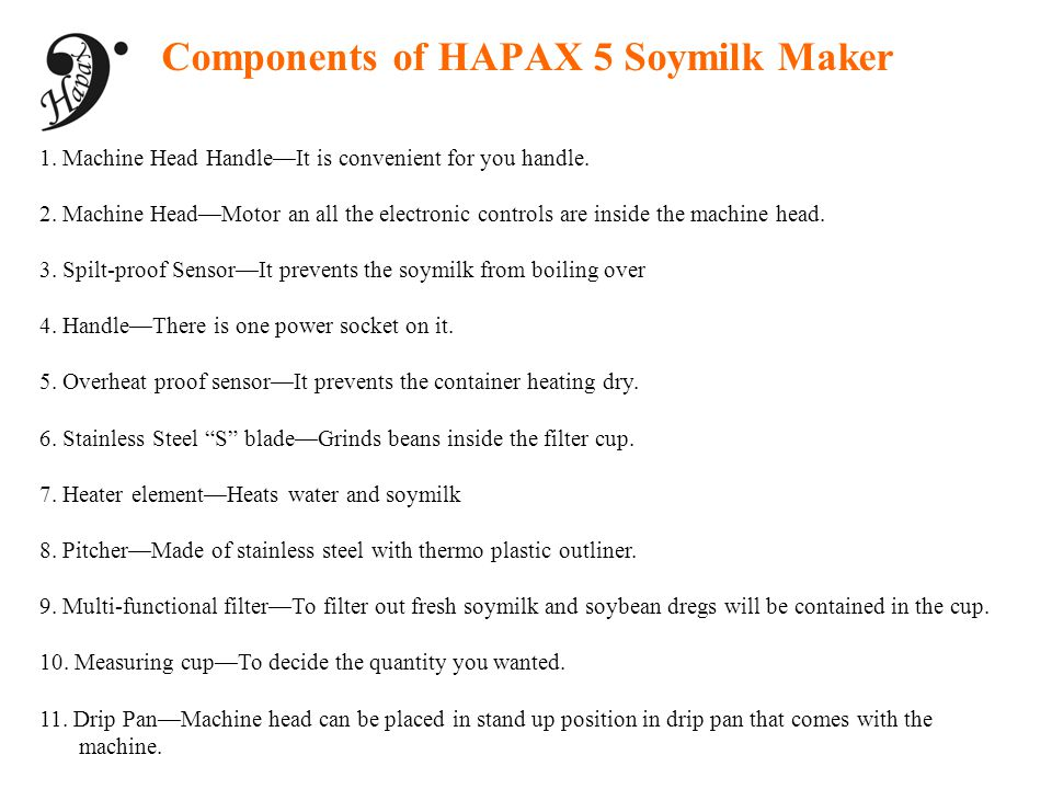 Components of HAPAX 5 Soymilk Maker