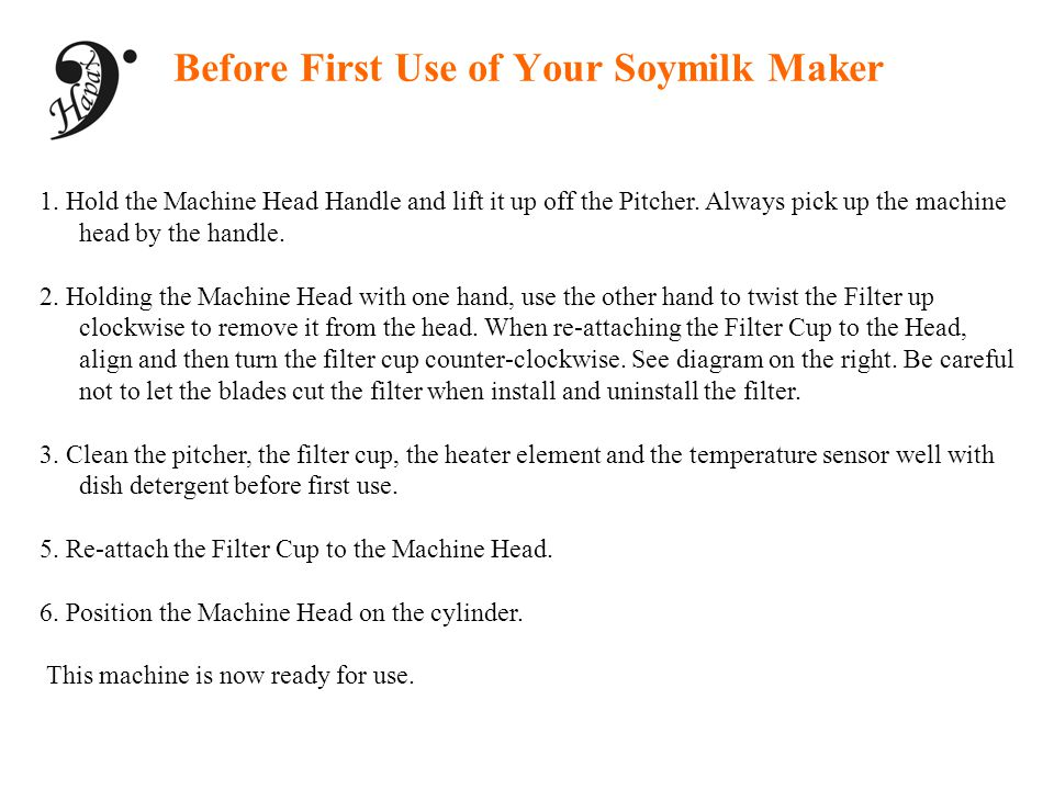 Before First Use of Your Soymilk Maker