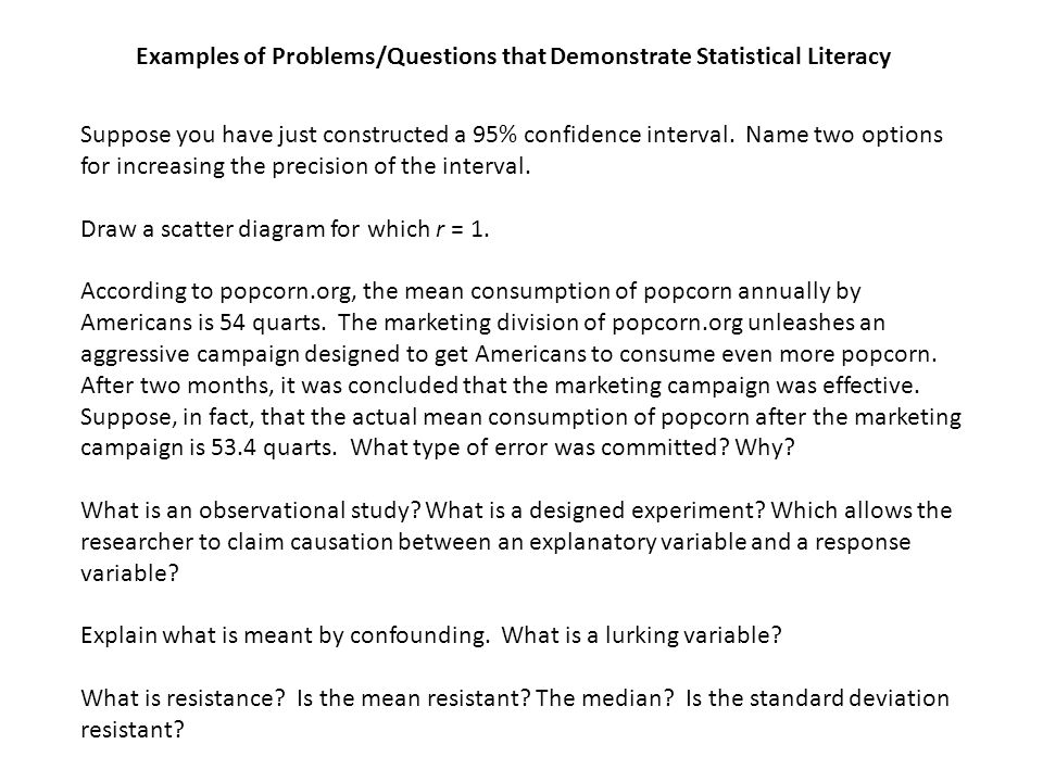 Examples of Problems/Questions that Demonstrate Statistical Literacy