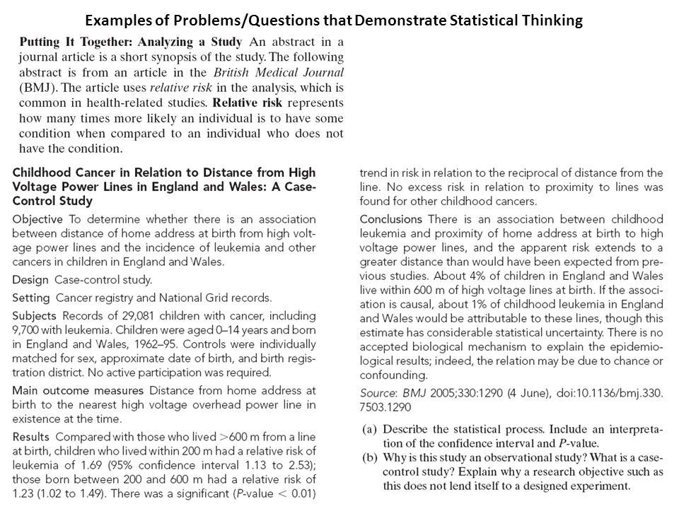 Examples of Problems/Questions that Demonstrate Statistical Thinking