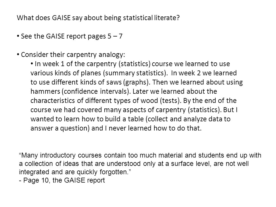 What does GAISE say about being statistical literate