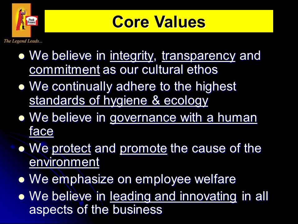 Core Values We believe in integrity, transparency and commitment as our cultural ethos.
