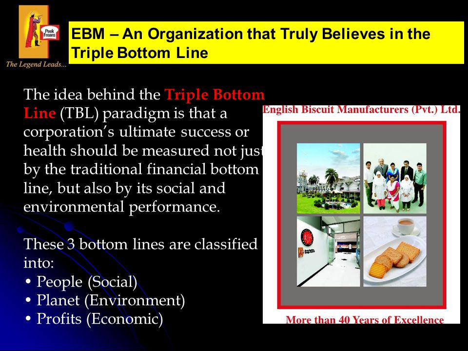 EBM – An Organization that Truly Believes in the Triple Bottom Line