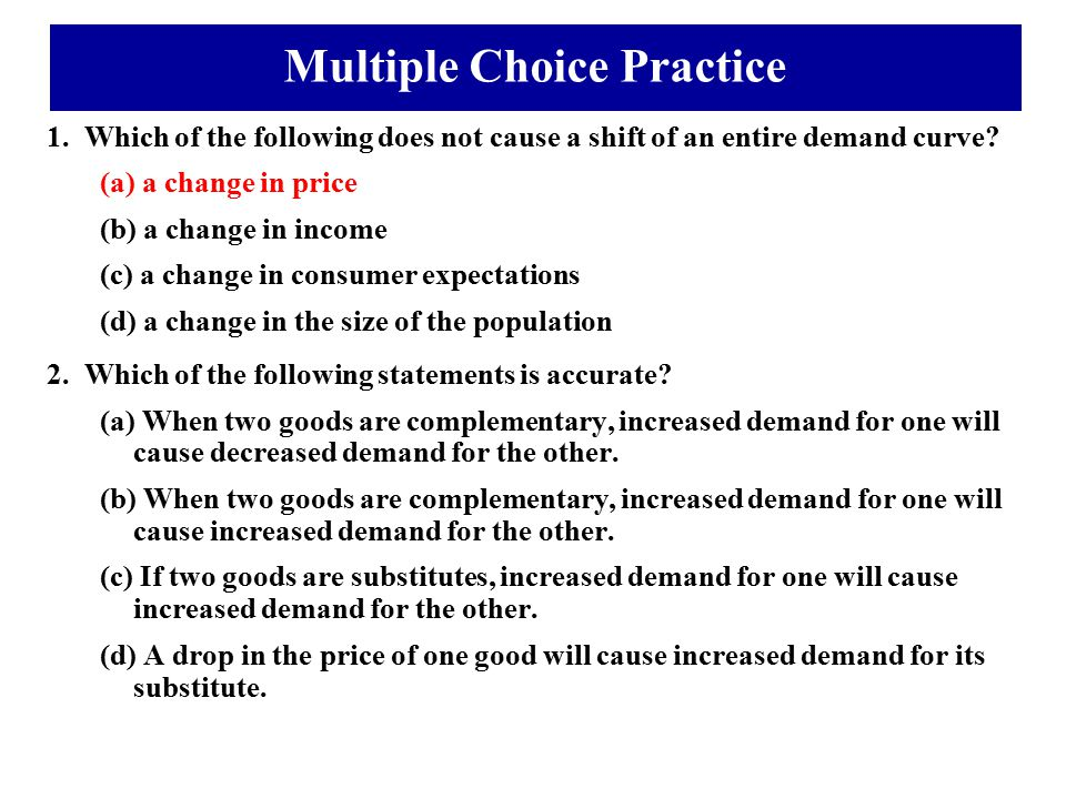 Multiple Choice Practice
