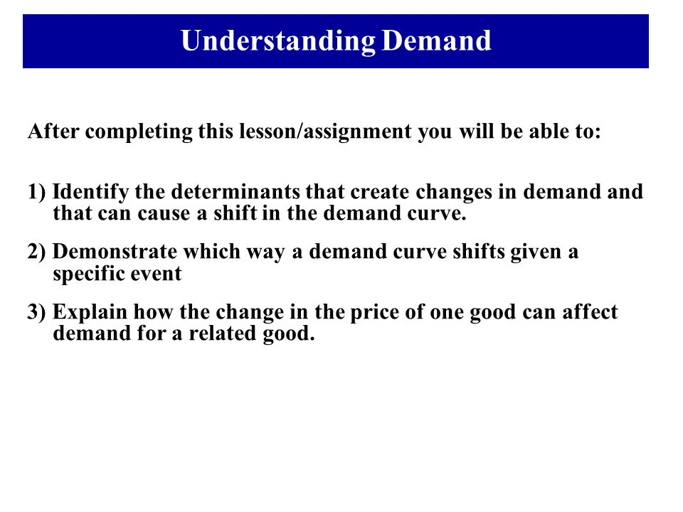 Understanding Demand After completing this lesson/assignment you will be able to: