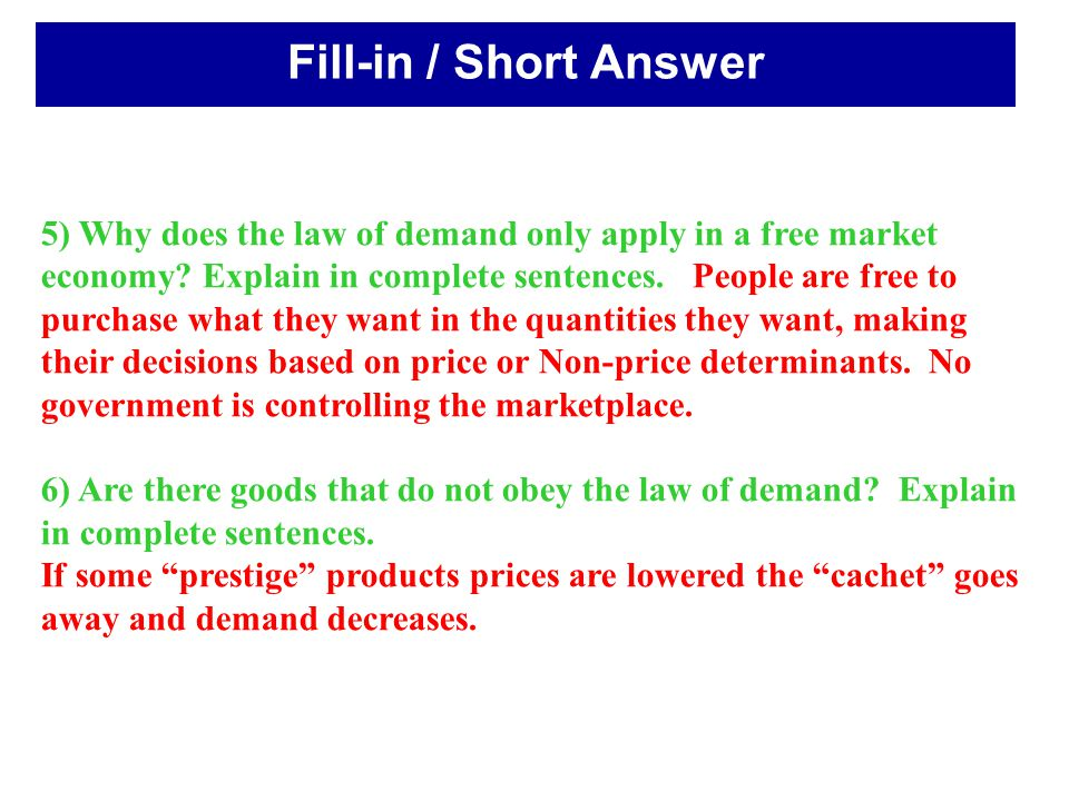Fill-in / Short Answer