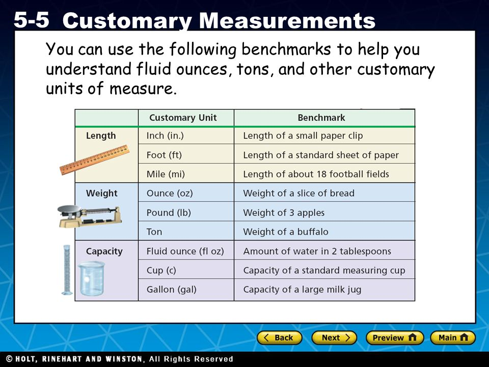 You can use the following benchmarks to help you understand fluid ounces, tons, and other customary units of measure.