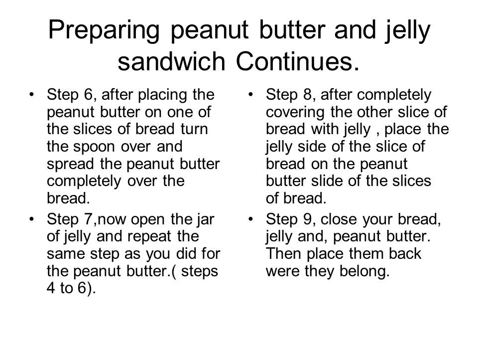 Preparing peanut butter and jelly sandwich Continues.
