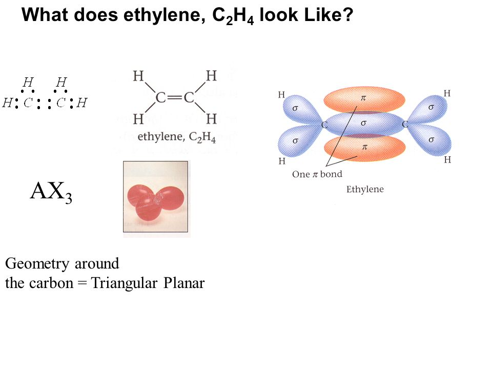 AX3 What does ethylene, C2H4 look Like Geometry around