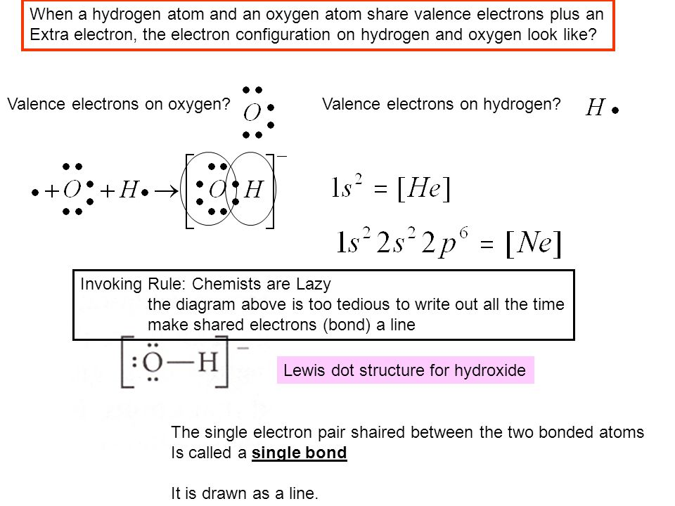 When a hydrogen atom and an oxygen atom share valence electrons plus an