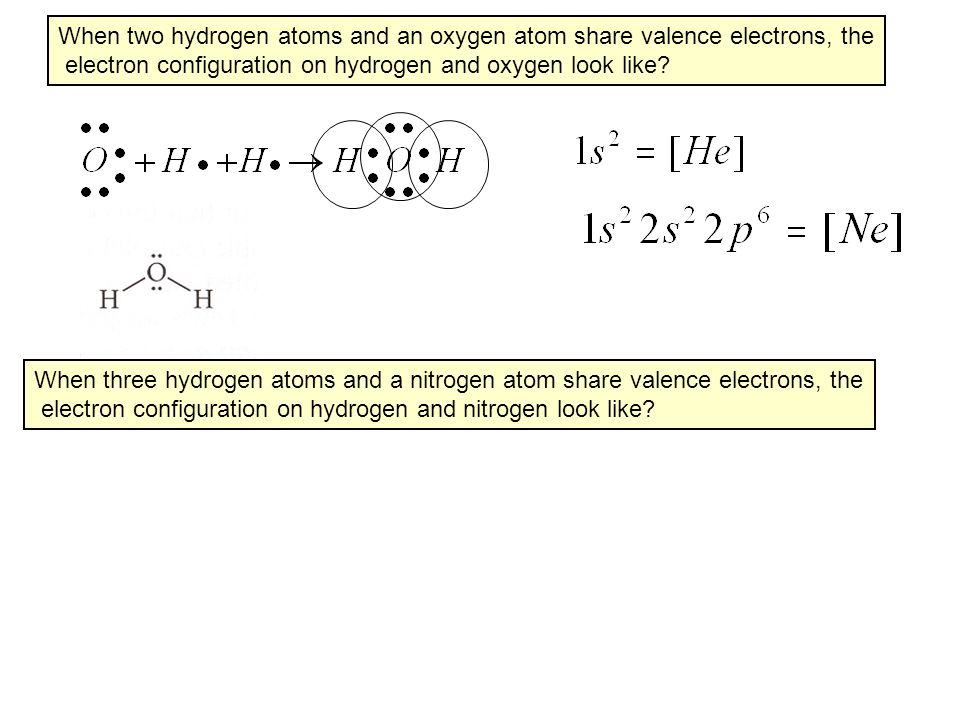 When two hydrogen atoms and an oxygen atom share valence electrons, the