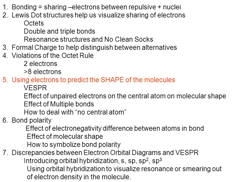 Bonding = sharing –electrons between repulsive + nuclei
