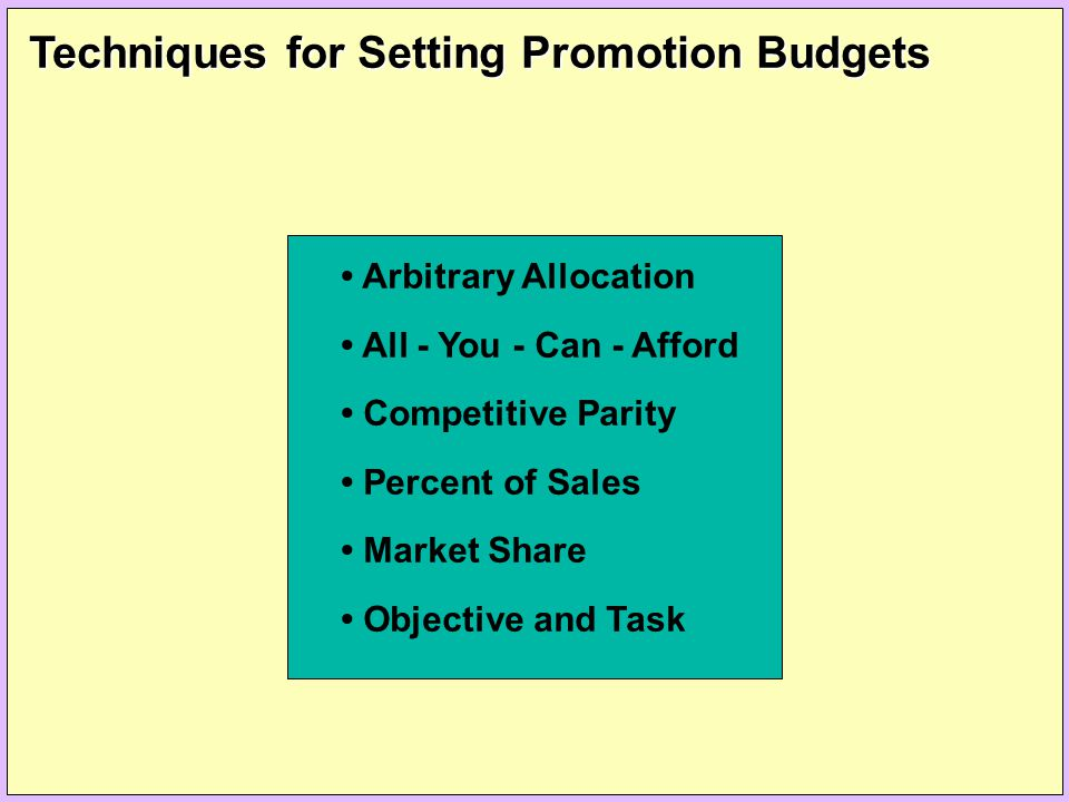 Techniques for Setting Promotion Budgets