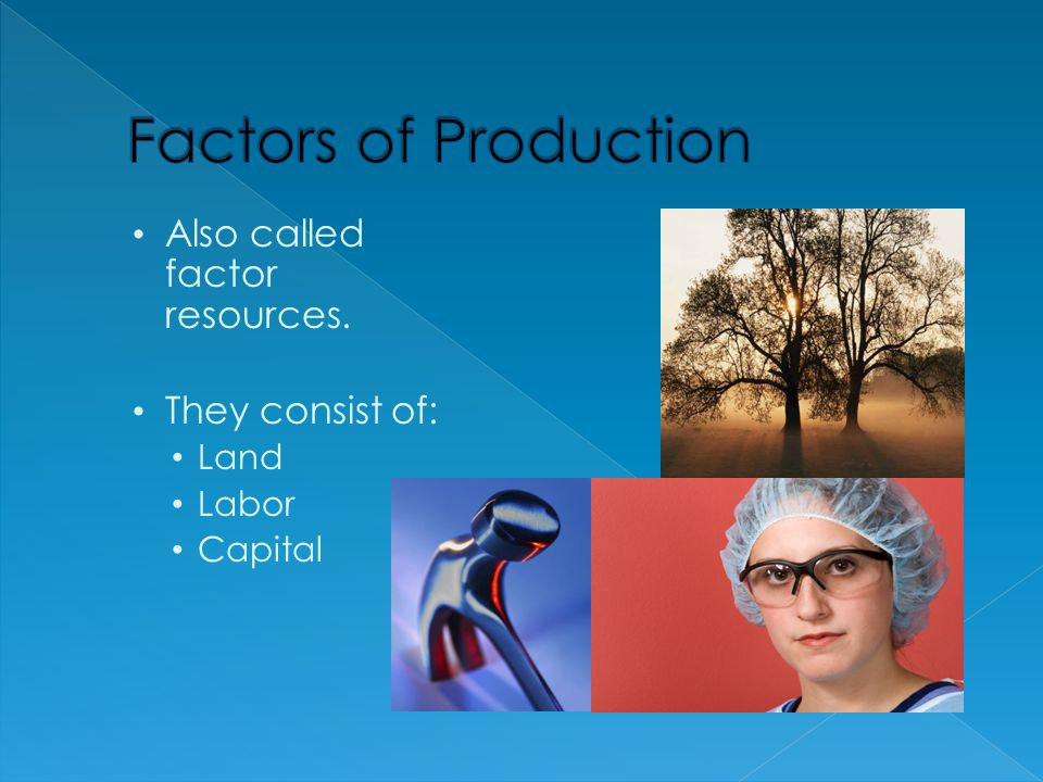 Factors of Production Also called factor resources. They consist of: