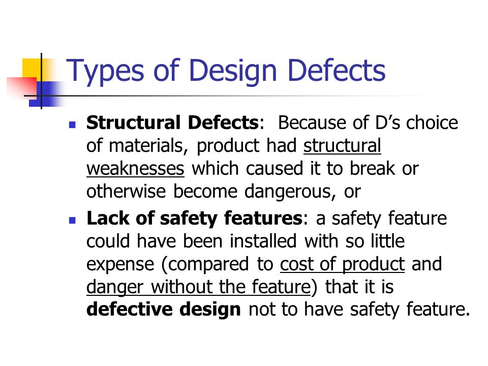 Types of Design Defects
