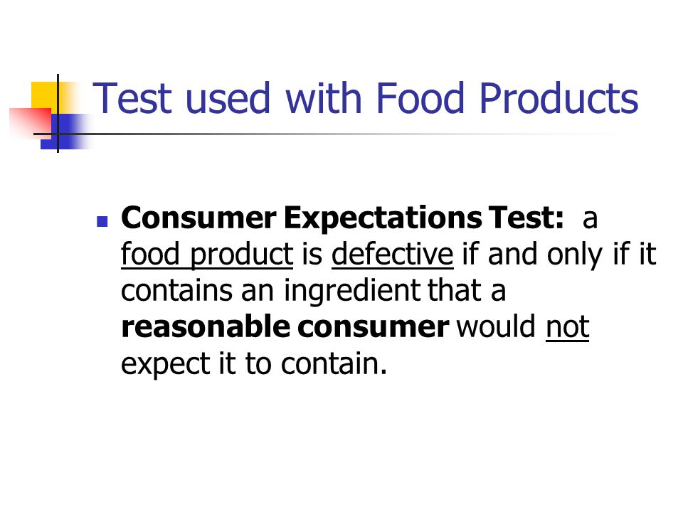 Test used with Food Products