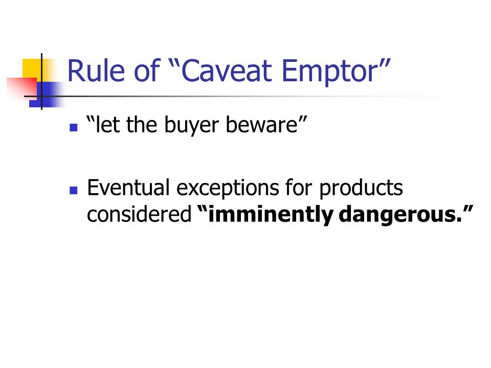 Rule of Caveat Emptor