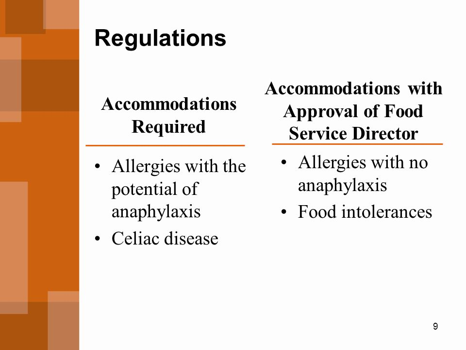 Regulations Accommodations with Approval of Food Service Director