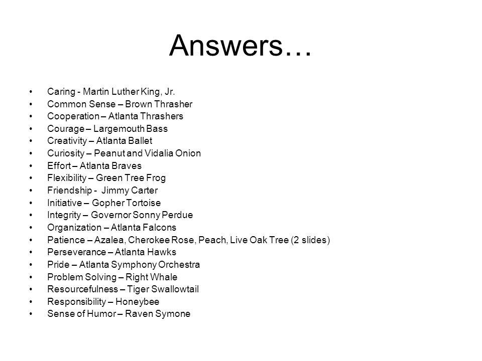 Answers… Caring - Martin Luther King, Jr.