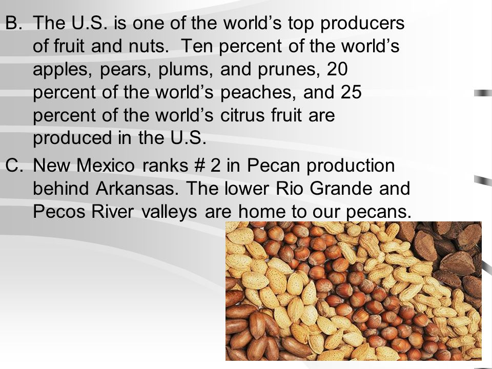 The U. S. is one of the world's top producers of fruit and nuts